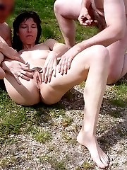 Two hot couples have decided to have sex not far from the wood, a man is licking a strange woman...
