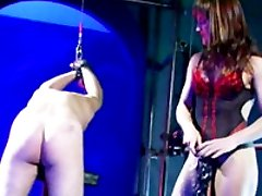Mistress makes her cuffed slave eat pussy and nails his ass with a big strapon cock