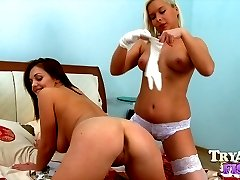 Bigtitted lesbian getting her ass hole probed with a dildo and her girlfriend039s fist
