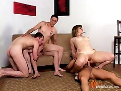 Cum enjoy the conclusion of this three part bi-Bareback Orgy.  Every kind of of hole is being filled here by cock and there's cum galore at the climax of this scene.