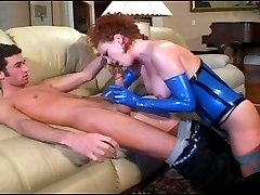 Housewife wears blue latex