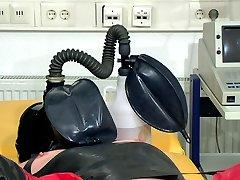 Horny gasmask pee