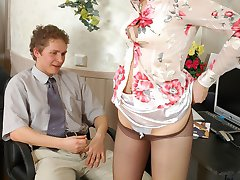Sexy secretary teasing well-hung dude with her luxury control top pantyhose