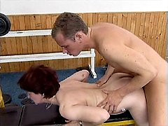 Old slut gets her little chocolate hole stuffed full of young stone-hard meat