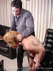 Naughty secretary in stockings gets spanked by her boss and shows her pink slit