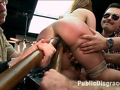 True submissive and anal whore, Claire Robbins, is pussy clamped, clothes pinned, flogged and...