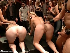 The fuck toys are back and horny as ever. More hard pussy pounding, face fucking, ass licking surprises. The 2 blonde sluts get their holes stretched wide. The voluptuous Mz Berlin is the icing on the cake when she makes an appearance and is willing to do anything to please princess Donna.