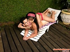 Instead of hooking a cutie horny guy got hooked up on shemale�s meaty cock