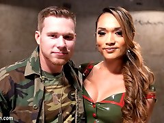 Army sergeant, Jessica Fox, punishes cadet, Owen Michaels, for his over sexed attitude.  Jessica pulls out her hungry lady cock and uses his lecherous attitude to her advantage by getting her beautiful cock sucked and using his hungry holes, stuffing them full of her throbbing cock rubbing his on hers. Jessica is so turned on that she hops on top of his dick filling her own hungry asshole then both of them explode with juicy cum!
