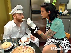 Morgan Bailey is devastatingly gorgeous playing a house wife who seduces the milk man when her husband is at work. Sebastian and Morgan have real chemistry. We get these two together and it's like fireworks! Morgan serves Sebastian some of her delicious cherry pie and adds the cream from her horny hard cock! She sits her beautiful ass right on the milk man's face then fucks the hell out of him with her dominating cock! Fucking, sucking, sweat, spit and two huge cum loads!