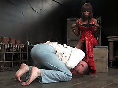 Casper Coxx was the epitome of a bad slave for the entire duration of his shoot. He couldn't keep his hands off his cock, so he is punished over and over again and finally placed in a straitjacket as a last resort. Watch the sexy Natassia Dream dominate this horny little fucker scene after scene and beat his lily white ass lobster red.