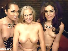 Jessica Fox and Kelli Lox are celebrating their anniversary. Jessica has a nice surprise for Kelli; Angel Allwood tied up in a dungeon and eager to have these two hot TS ladies do what ever they want with her. Jessica and Kelli fuck Angels mouth while she is bound and helpless. Then they take her to the bed where Jessica fucks her ass and Kelli Joins in for hard core DP action. Every girl gets an Anal fucking today. Angel sits on Kelli's face while Jessica fucks Kelli's Ass and Angel sucks Kelli's cock then they swap places so Jessica can get her ass fucked. This is a sexy TS orgy with a hot pussy in the middle