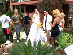 Sexy she-creature bride revealing her screwing talents during first wedding night