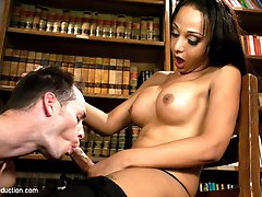 Welcome newcomer Sunshyne Monroe who is just kicking off her porn career and certain to be a firecracker of TS domination.   Sunshyne is a sweet Texan hottie with a nice long cock, beautiful tits and a hot curvy body that makes this sexy girl impossible to deny.  In this debut shoot, Sunshyne seduces a police cadet right in their training classroom, fucking him on the desk, sucking him off and popping a HUGE cum shot as she strokes herself off while teasing her man.  You can be certain you will see Sunshyne again and that next time she will be even better as she grows into the full throttle Dom that is clawing to get out.