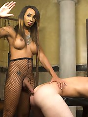Honey Fox is smoking hot and mean in her dripping wet latex. Kip Johnson gets special treatment...