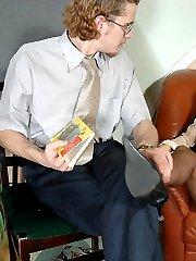 Upskirt secretary in shiny pantyhose seducing a customer into hot nylon sex