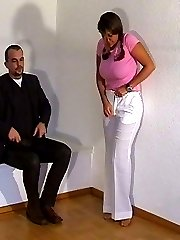 Pretty brunette stripped and spanked
