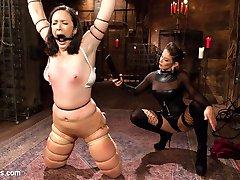 Pink the pain slut visits brutal dominatrix Felony for a session filled with flogging, spanking,...