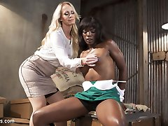 Hot MILF customer Simone Sonay pervs out on sexy barista Ana Foxxx every time she buys her...