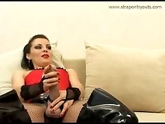 Fresh slave lives through sheer hell in the company of two strapon dominas