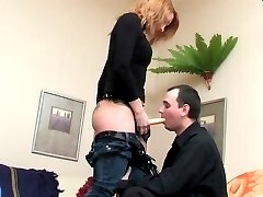 Breathtaking doggystyle fucking with strap-on armed gal and sex-craving guy