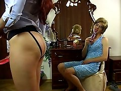 Hot-assed guy dresses like a girl and plays with dildos aching for ass-fuck