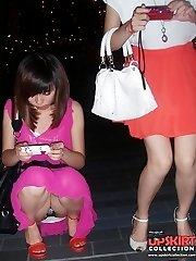 Partying girls upskirts on spy cam