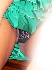 Babe is with panty slid down upskirt