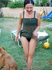 Girls boasting hot legs up skirts