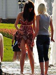 Girls round knees look hot up skirt