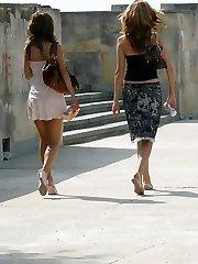 Shy girls do hot upskirt flashing