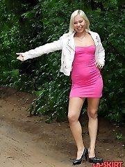 Girls are outdoor flashing upskirts
