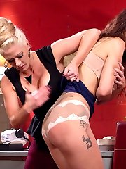 Welcome back super MILF, Syren De Mer, and evil MILF domme, Holly Heart, to Whipped Ass. In this...