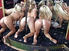 Four lap dancing whores severely bound and smacked - burning hot buttocks