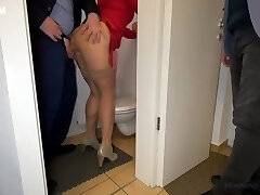 Wifey Is Fucked By The Ceo In The Office Restroom - Husband Secretly Witnesses
