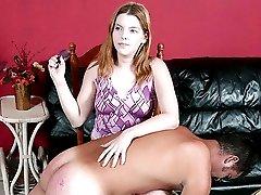 Beautiful blonde ass punishing hunk with a hairbrush