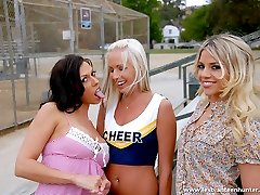 Two lesbians invite a horny cheerleader to their pussy party