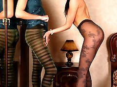 Raunchy babes in crotchless fashion tights go for lesbian backdoor ramming