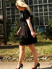 Outdoor in sheer skine tone stockings