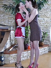 Sultry maid in barely visible tights getting it on with her hairy mistress