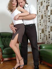 Luscious chick teasing her horny boyfriend with her long nylon clad legs