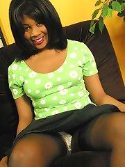 Dusky Danielle stocking striptease