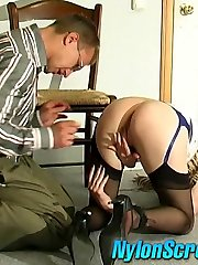 Hot coed in plain top stockings luring a chap into fucking frenzy on floor