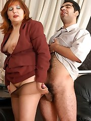 Redhead mature honey getting smashed right in her tan control top pantyhose