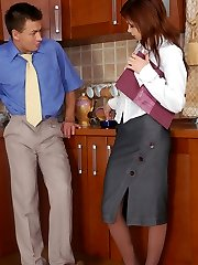 Doll-encountered secretary in control top tights fucking like hell on the floor