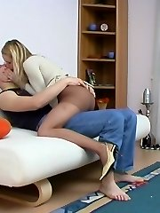 Warm guy burning with passion looking at damsel caressing her pantyhosed vagina