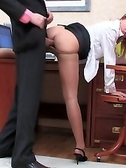 Nasty secretary in control top tights getting fucking experience at work