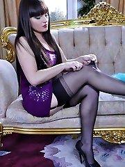 Upskirt teaser in ebony seam-n-heel stocking exposes her chubby ass cheeks
