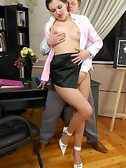 Irresistibly sumptuous secretary changing her lacy stocking in front of hot guy