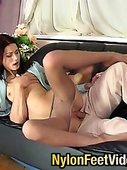 Astounding pantyhose footjob bound to have drilling finale for awesome chick